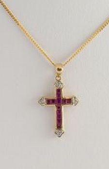 Ruby with Diamond Cross
